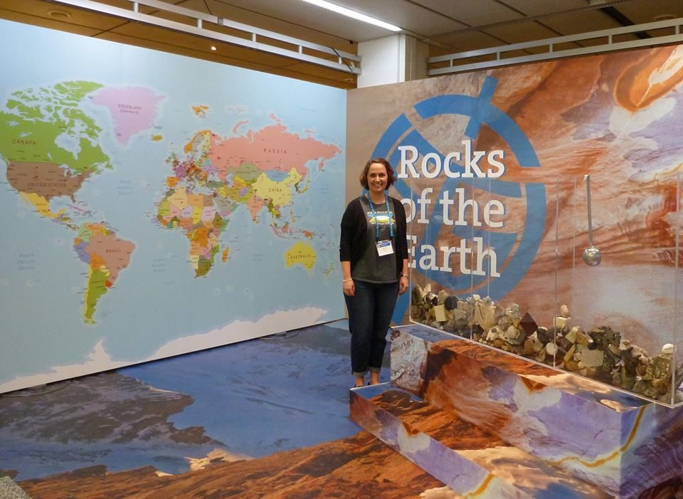 Susan at the Rocks of the Earth exhibition at European Geosciences Union General Assembly 2014. (Credit: Susan Tate)