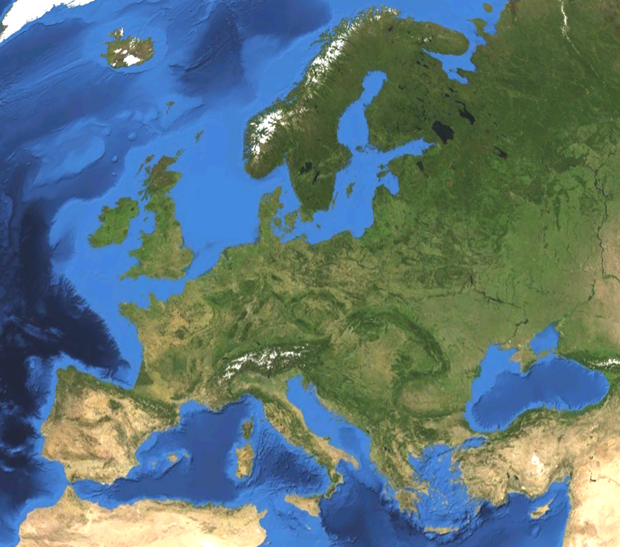 Satellite picture of Europe. Land terrain and bathymetry (ocean-floor topography). Credit: Koyos (distributed via  Wikimedia Commons)