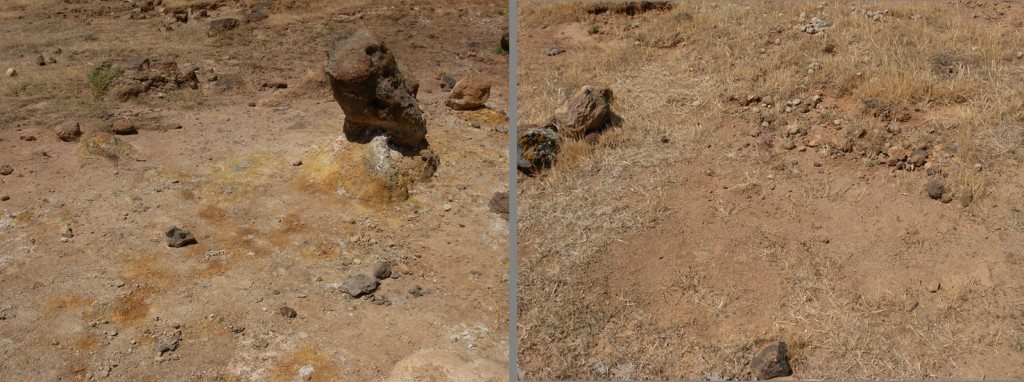On the left, the harsher site – the stains on the surface are signs of the soil alteration. To the right, the milder site – here, soil alteration is much harder to see without a microscope. Credit: Walter D'Alessandro.
