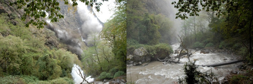 Left: Rockfall from the opposite cliffs made our location a highly dangerous place. Right: Seconds after the main tremor was over, everything was changed. The river color turned brown, dust and Sulphur smell was in the air and the path was destroyed by small landslides or rocks (Credit: Prof. Dr. Klaus Katzensteiner).
