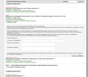A screenshot of the session proposal tool. Propose co-convened sessions by adding the request in the comments section.