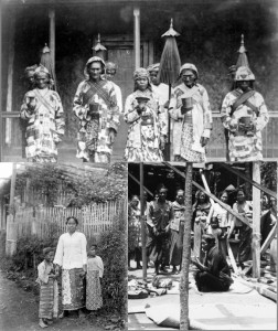 (Top) Tenggerese priests during Dutch East Indies era which lasted from 1800 to 1949. (Bottom left) Tenggerese woman with two children. (Bottom right) Tenggerese priest holding a dedication ceremony of a new build house. (images provided to Wikimedia Commons by the Tropenmuseum, author unknown).