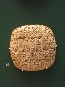 Sumerian Cuneiform on a clay tablet. From Shuruppak or Abu Salabikh, Iraq, circa 2,500 BCE. British Museum, London. Credit: Gavin.collins, distributed via Wikimedia Commons.