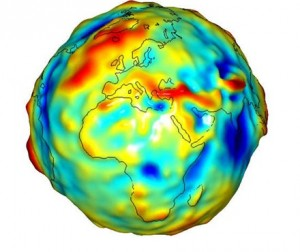 A map of deviations in gravity from a perfectly smooth, idealized Earth.  The gravity model is created with data from NASA's GRACE mission. (Image Credit: NASA/JPL/University of Texas Center for Space Research)