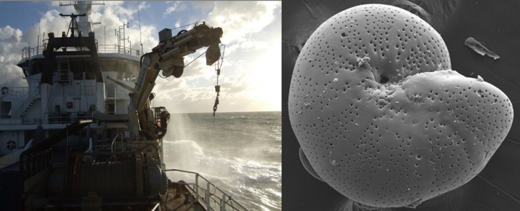 (L) An ocean cruise on which the sediment cores used in the study are collected. (R) Benthic foraminifera - James uses these to make measurements of the chemistry of these to reconstruct past climate change. Credit: James Rae