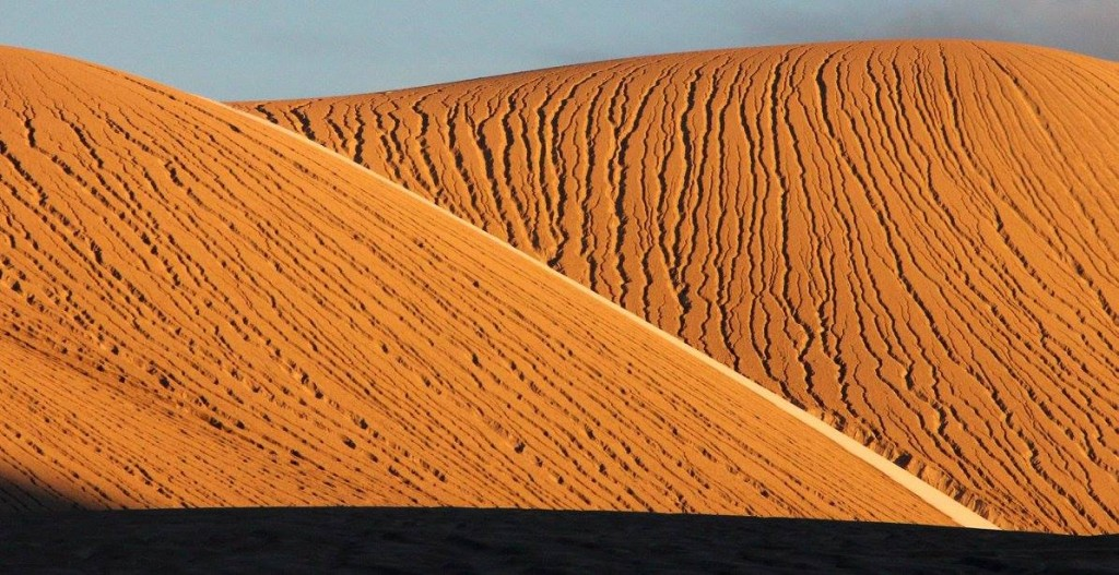 The dunes of the highland plateaus light up in the low sun. Image Credit: Dr. Hugh Tuffen
