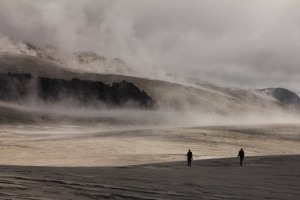 Hugh returned in 2015 yet again with Mike James and student Nathan Magnall and walked between slivers of cloud and tongues of glassy lava. Image Credit: Dr. Hugh Tuffen