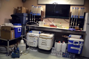 Carbon pump filtration lab. All the spaces available on board where used! Credit: Sara Durante