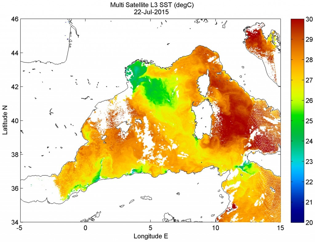 Night time SST in the Western Mediterranean on 22nd July 2015. Data courtesy of CMEMS.
