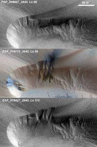 Three images of the same location taken at different times over one Martian year show how the seasonal fluctuation of the polar cap of condensed carbon dioxide (dry ice), between its solid and gaseous state, destabilises a Martian dune at high altitude to cause sand avalanches and ripple changes. (Credit: NASA/JPL/University of Arizona)