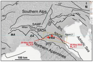 Simplified sketch of northern Italy, centred on the Po Plain and showing the southern Alps and Northern Apennines fold and thrust belts. The location of the largest shocks of the May 2012 Emilia earthquake sequence is shown with red stars. The yellow rectangle outlines the study area (see Fig. 2). Key: SAMF: southern Alps mountain front; SAOA: southern Alps outer arc; GS: Giudicarie system; SVL: Schio-Vicenza line; NAOA: Northern Apennines outer arcs; PTF: pede-Apennines thrust front; MA: Monferrato arc; EA: Emilia arc; FRA: Ferrara-Romagna arc. Modified from Vannoli et al. (2015). Taken from Mucciarelli et al. (2015).