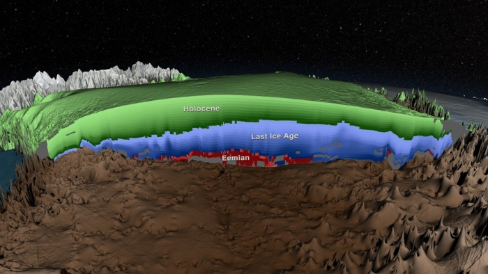 Cross-section of the age of the Greenland Ice Sheet from radar data. Credit: NASA's Scientific Visualization Studio and MacGregor et al., 2015.