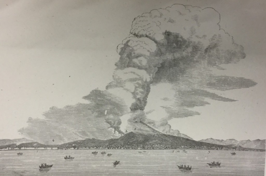 "Vesuvius in eruption, April 26, 1872. Original caption 'from a photograph taken in the neighbourhood of Naples"". (Palmieri and Mallet, 1873). Published in the Decemeber 15th post:  'The first volcanic eruption to be photographed?'"