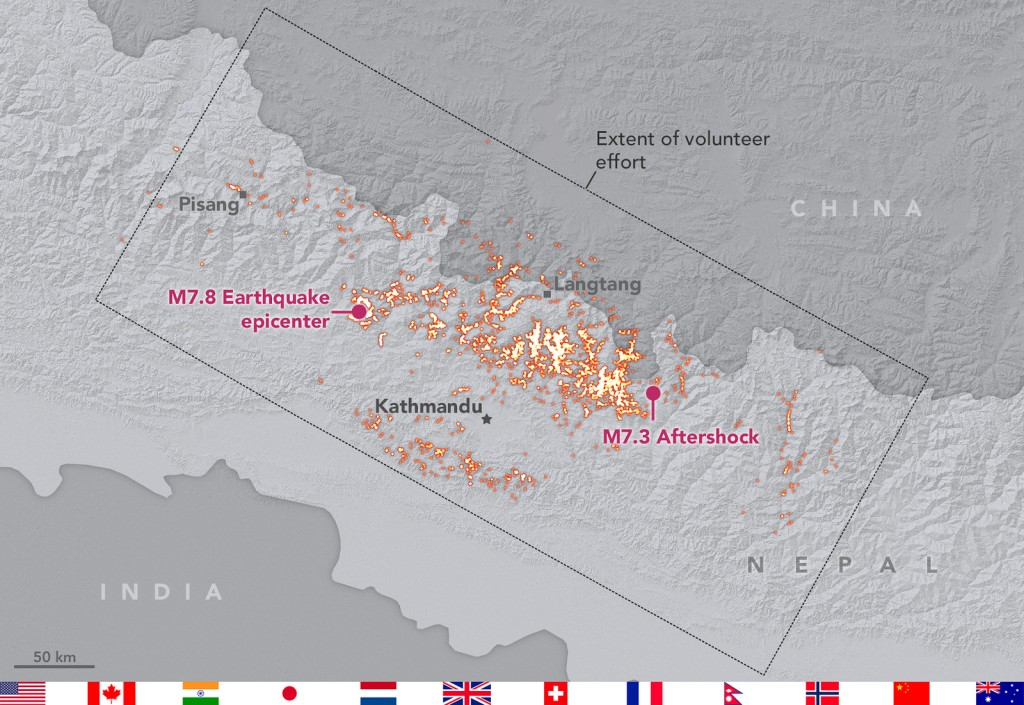 An international volunteer geohazards team mapped landslides triggered by the 2015 Nepal Gorkha earthquake and its aftershocks. The landslides were mapped using a range of different satellite products. Credit: Landslide mapping team/NASA-GSFC. Distributed via NASA Goddard on Flickr.
