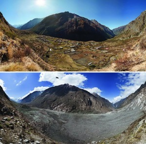 Before-and-after photographs of Nepal's Langtang Valley showing the near-complete destruction of Langtang village due to a massive landslide caused by the 2015 Gorkha earthquake. Photos from 2012 (pre-quake) and 2015 (post-quake) by David Breashears/GlacierWorks. Distributed via NASA Goddard on Flickr.