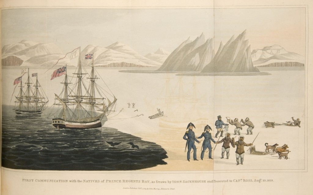 An encounter between British Royal Navy expedition, led by John Ross, and Inuit people on Baffin Bay, Greenland. The artist John Sacheuse (sometimes spelled Sackhouse) was an Inuit who acted as interpreter for Ross's party.