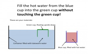 How can I fill the green cup with hot water without touching it? Credit: Mirjam Glessmer