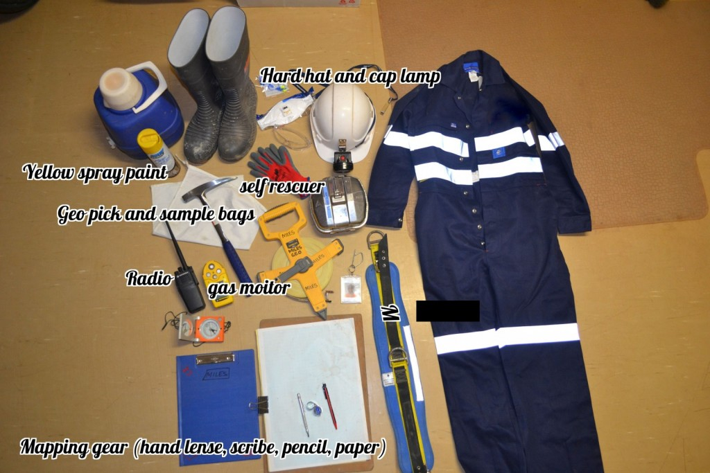 The contents of Dave's field bag. Safety underground is paramount! That's why Dave's most treasured items include his safety equipment.