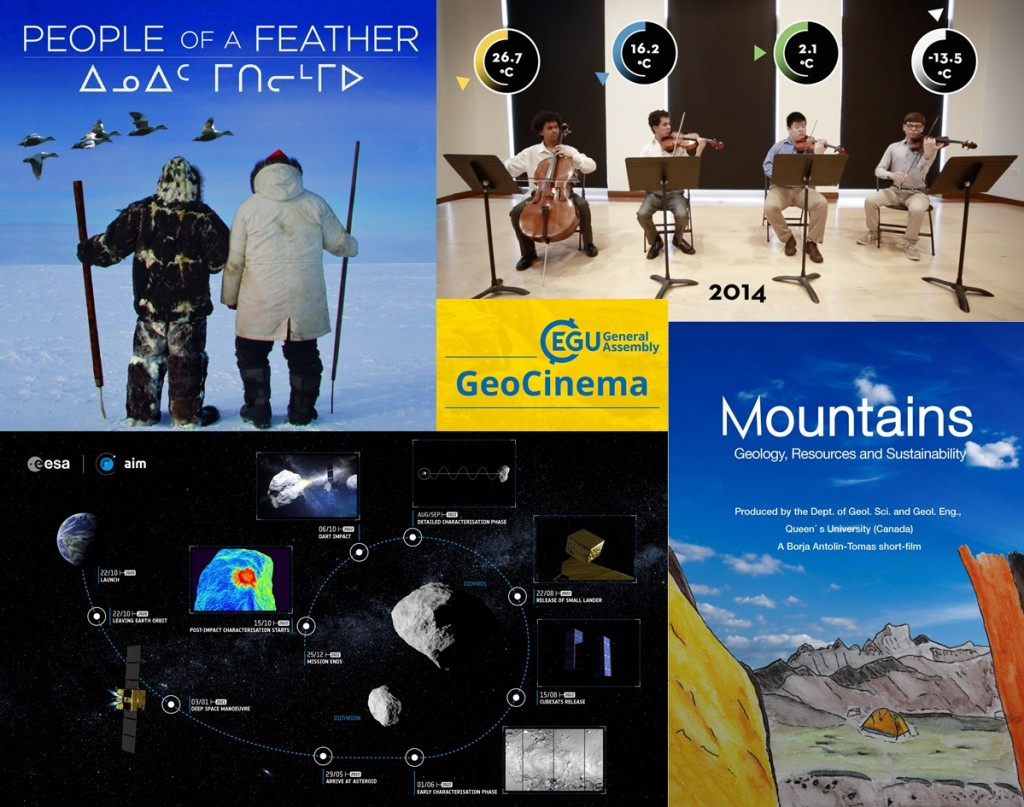 A taste of some of the films being showcased at the GeoCinema. (Credit: People of a Feather, The Asteroid Impact Mission, Mountains (geology, resources and sustainability) & What climate change sounds like from the Amazon to the Arctic).