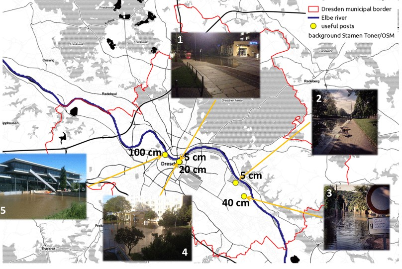 Location of useful photos retrieved with PostDistiller and inundation depths estimates. (Photos by Denny Tumlirsch (@Flitz- patrick), @ubahnverleih, Sven Wernicke (@SvenWernicke) and Leo Käßner (@leokaesner). Taken from J. Fohringer et al. (2016))