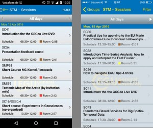 Browsing Short Courses on the Android (left) and iPhone (right) app. Click on the image to enlarge.