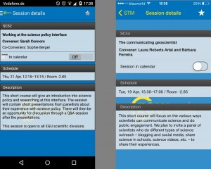 Session details listed in the Android (left) and iPhone (right) app. Click on the image to enlarge.