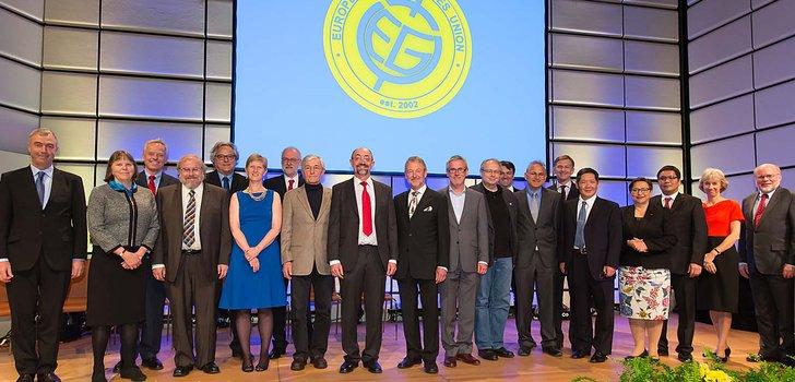 A few of last year's awardees with the EGU President and Vice-President at the EGU 2015 Awards Ceremony. (Credit: EGU/Foto Pfluegl)