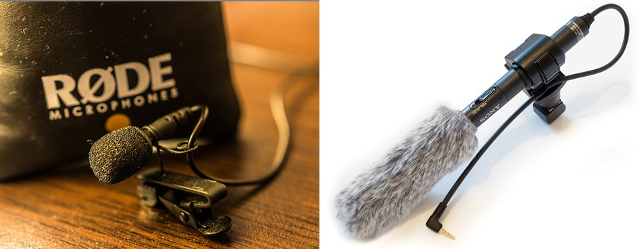 To start off with, consider using a lav microphone (l) or a shotgun microphone (r). Credit: Rode Lav Mic by Jim Makos, distributed via Flickr. Shotgun microphone by SkywalkerPL - Own work, CC BY 3.0, Wikimedia Commons
