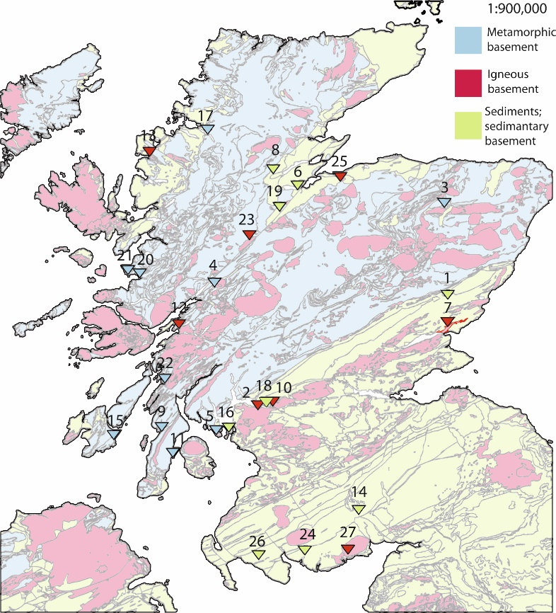 Map of Scotland with simplified basement geology and cover-sediments marked. Vitrified fort positions are numbered such that 1- Finavon, 2- Craig Marloch Wood, 3- Tap O'North, 4- Dun Deardail, 5- Dunagoil, 6- Craig Phaidrig, 7- Laws of Monifieth, 8- Knockfarrell, 9- Dunskeig, 10-Dumbarton Rock, 11- Carradale, 12-Dun MacUisnichan, 13- Art Dun, 14- Mullach, 15- Trudernish Point, 16-Cumbrae, 17- Dun Lagaidh, 18- Sheep Hill, 19-Urquhart Castle, 20- Eilan-nan-Gobhar, 21- Eilan nan Ghoil, 22- Duntroon, 23- Torr Duin, 24- Trusty's Hill, 25- Doon of May, 26- Castle Finlay, 27- Mote of Mark. (From the British Geological Survey).