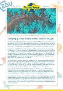Example of a Planet Press Release: Studying glaciers with animated satellite images, published September 2015.