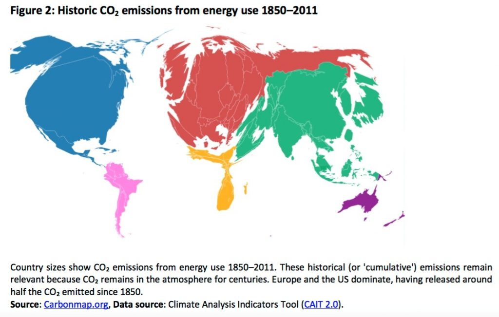 An infographic showing the continental contributions of historical CO2 emissions available on the EPRS Graphics Warehouse webpages. )