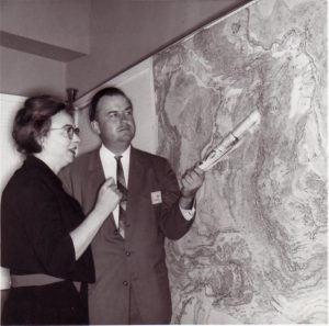Bruce Heezen and Marie Tharp with the 1977 World Ocean's Map. Credit: Marie Tharp maps, distributed via Flickr.