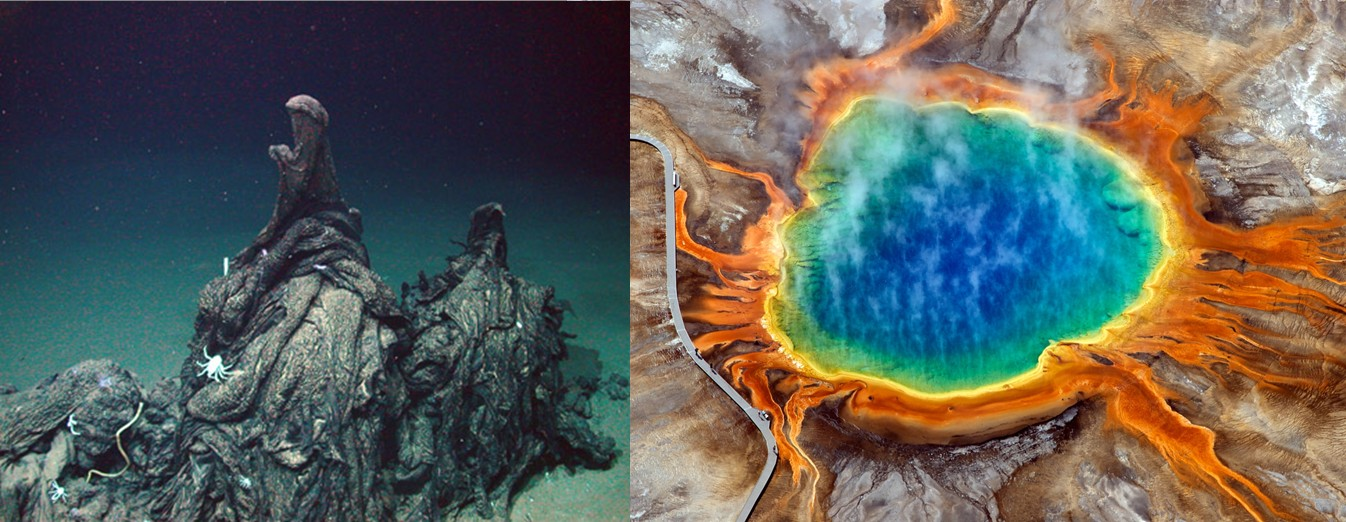 "Left: Asphalt volcano off the Gulf of Mexico . Credit: Marum. Right: href="" http://imaggeo.egu.eu/view/527/""> Grand Prismatic spring . Credit: David Mencin (both images distributed via imaggeo.egu.eu)."