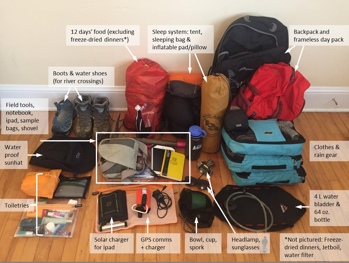 When hiking to altitudes above 2000 m packing light is crucial! Credit: Alexa Van Eaton