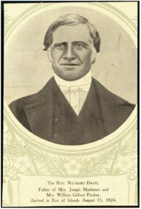 Print of a photomechanical portrait of Reverend Richard Davis taken ca. 1860, from the file print collection, Box 16. Ref: PAColl-7344-97, Alexander Turnbull Library, Wellington, New Zealand, sourced from http://natlib.govt.nz/records/23073407 (From A. M. Lorrey et al., 2016).