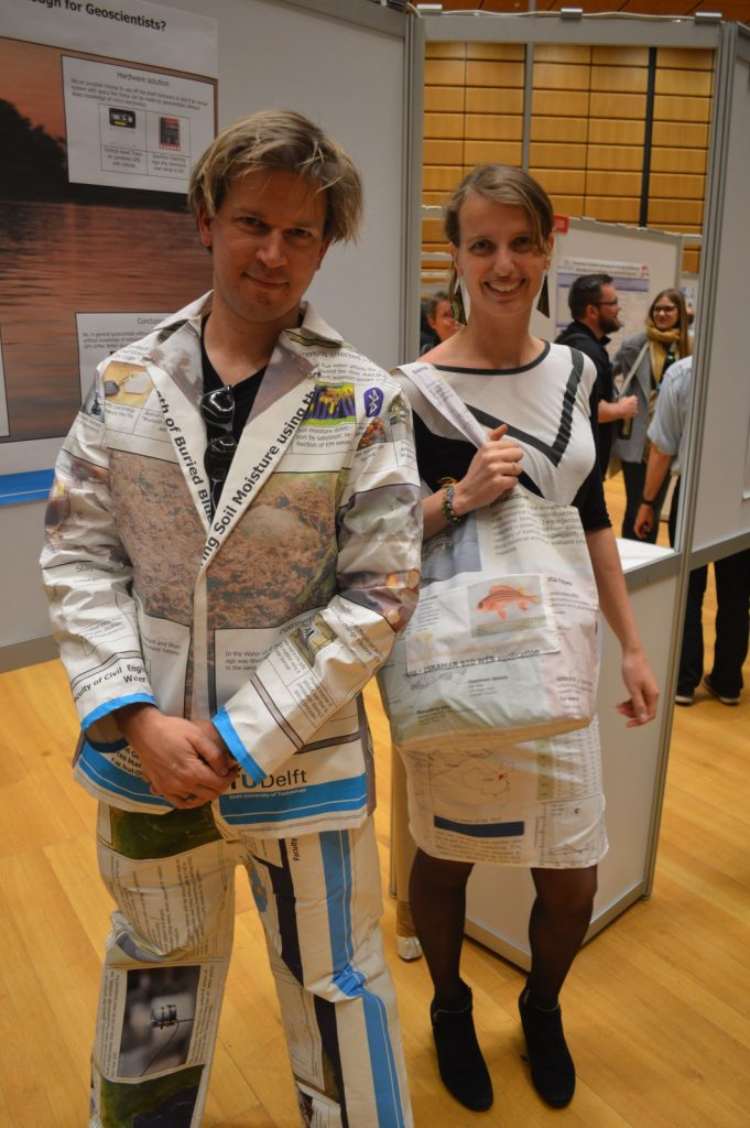 Sandra and Rolf model their REpost fashion at EGU 2017. Credit: Kai Boggild/EGU
