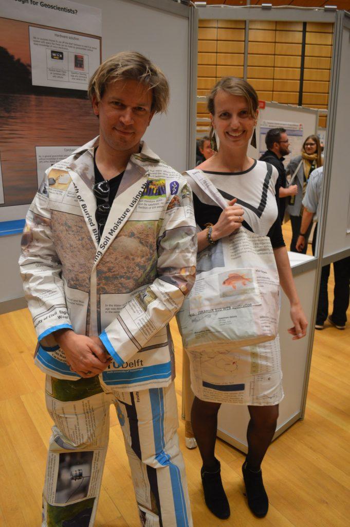 Sandra and Rolf model their REpost fashion at EGU 2017. Credit: Kai Boggild/EGU