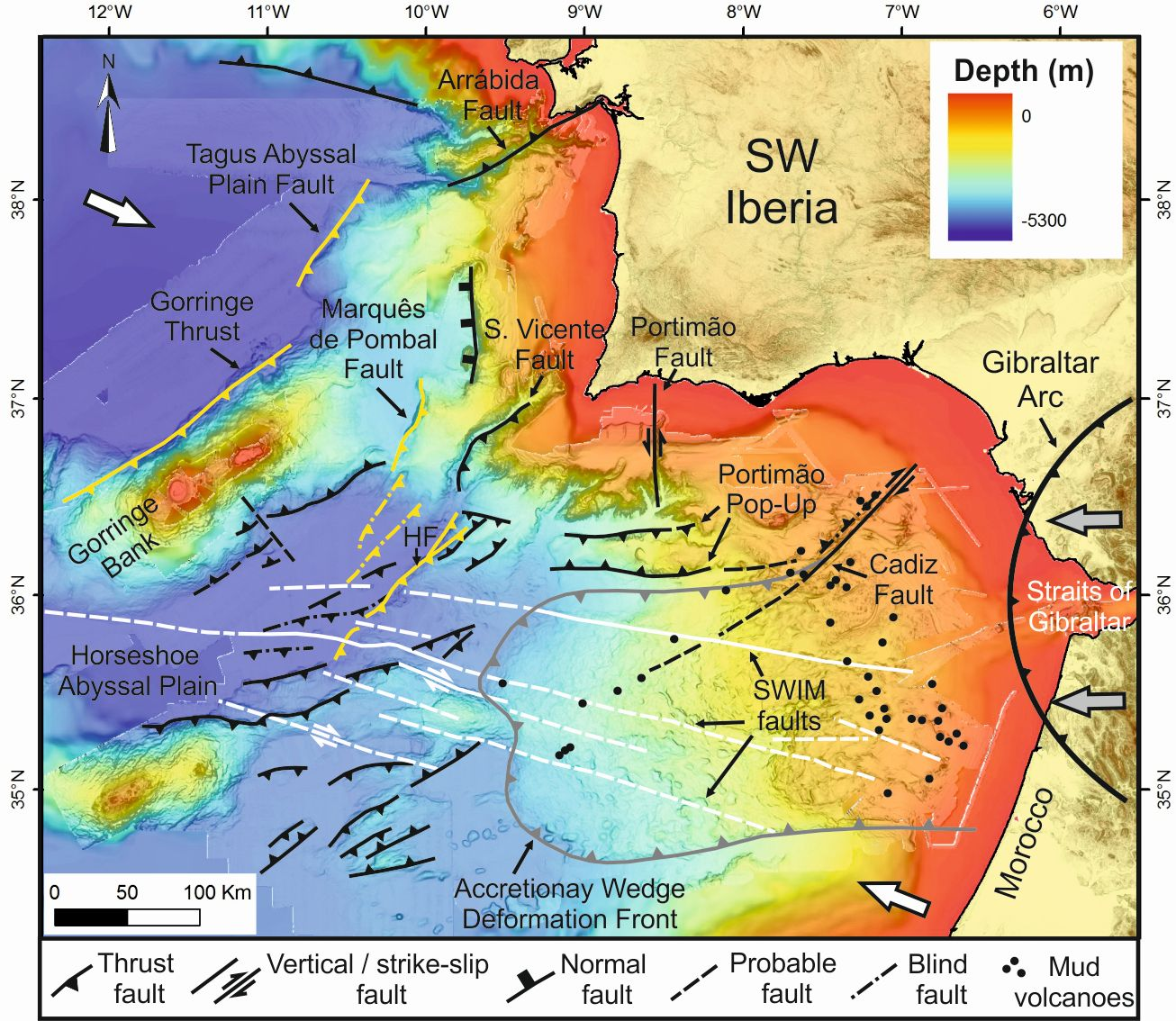 Geolog geotalk the life and death of an ocean is the atlantic in grey the deformation front of the gibraltararc in white the strike slip fault associated with the azores gibraltar fracture zone and in yellow the new sciox Image collections