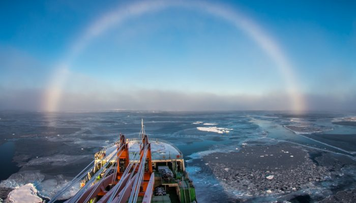 """Above the foggy strip, this white arch was shining, covering one third of the visible sky in the direction of the ship's bow,"" he explains. ""It was a so-called white, or fog rainbow, which appears on the fog droplets, which are much smaller then rain droplets and cause different optic effects, which is a reason of its white colour."""