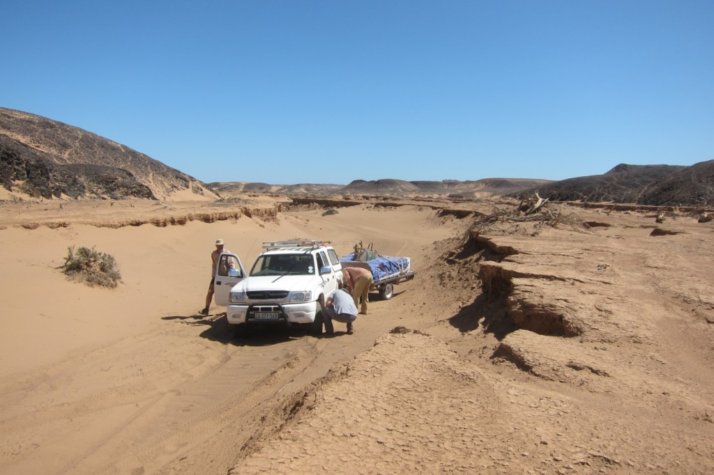 The treacherous driving conditions along the Huab River, here navigating the older river terraces. (Credit: A. Dansie)