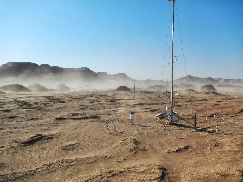 The weather station closest to the active spring. Dust emissions in the background are from a south-westerly wind never previously thought to be able to drive dust emissions. (Credit: F. Eckardt)