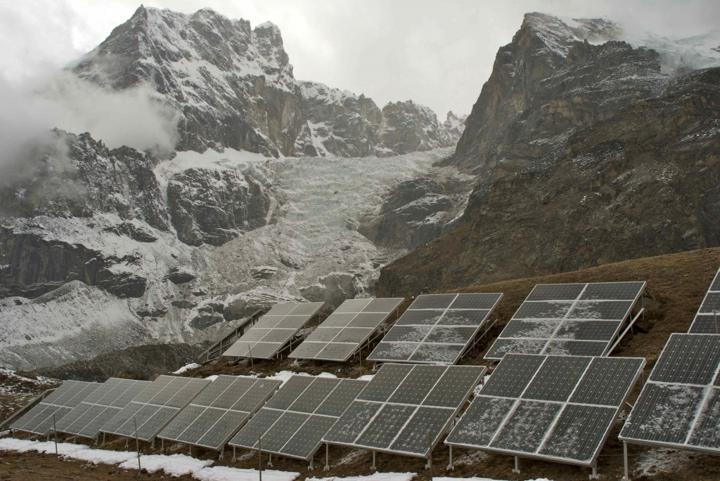 Solar panels against the backdrop of the Khumbu Glacier. (Credit: Jane Qiu)
