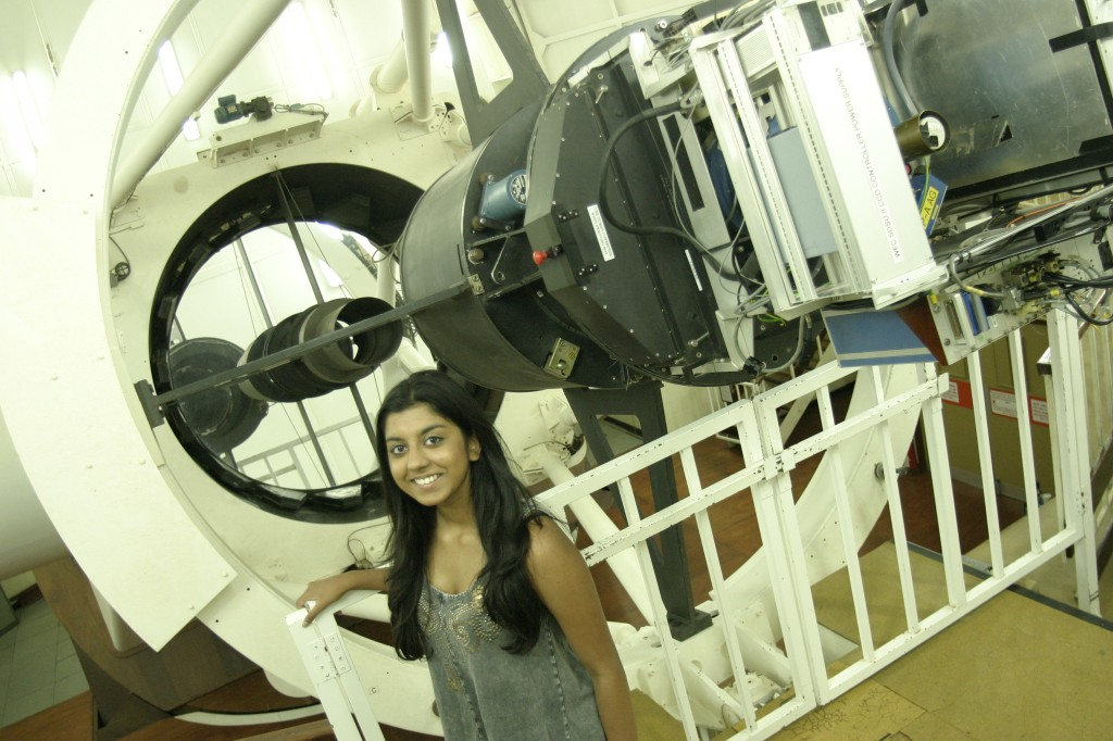 Kirtana at Issac Newton Group of Telescopes on an RCUK visit. (Credit: British Science Association)