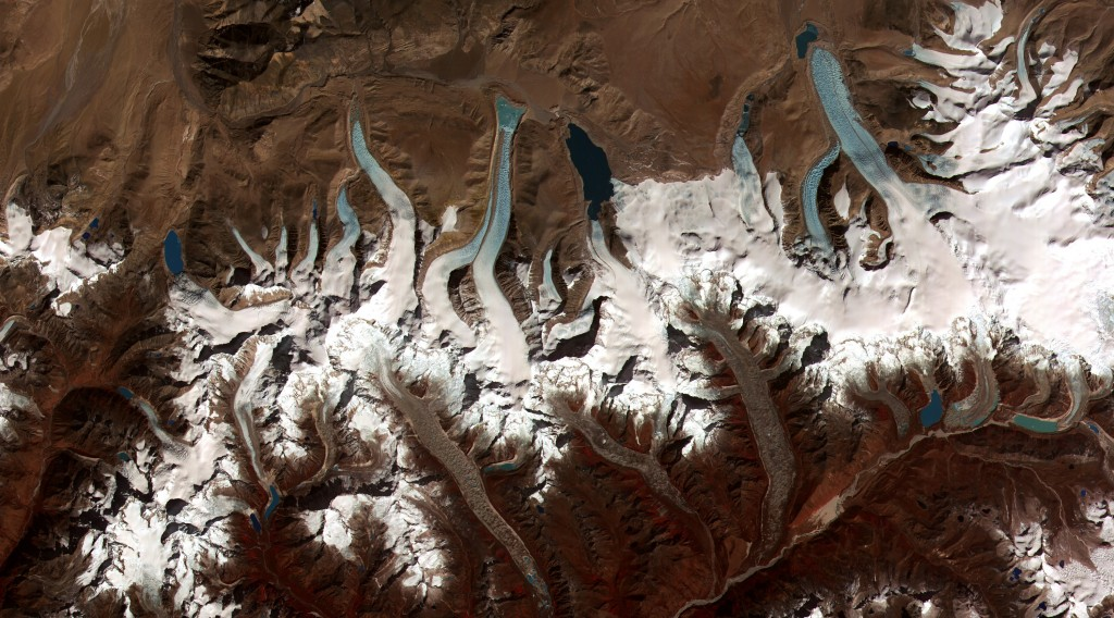 A series of glacial lakes in Bhutan. (Credit: NASA)