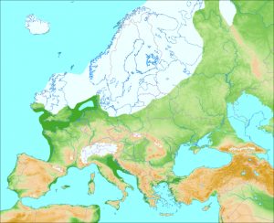 Europe during the last glaciation, approximately 20,000 to 70,000 years before present. (credit: Wikimedia Commons user Ulamm)