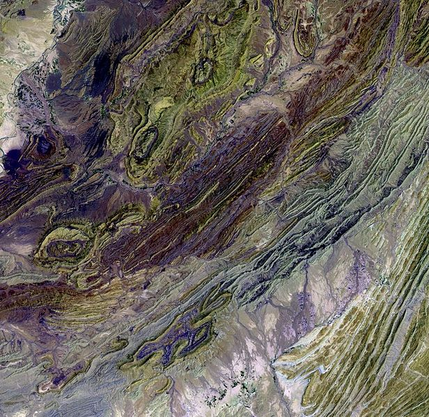 Part of the Sulaiman mountain range as seen from space. (Credit: NASA/USGS EROS Data Center)