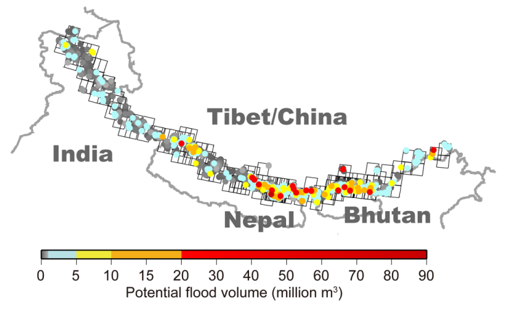 The potential flood volume of glacial lakes in the Himalayas. (Credit: Fujita et al, 2013)