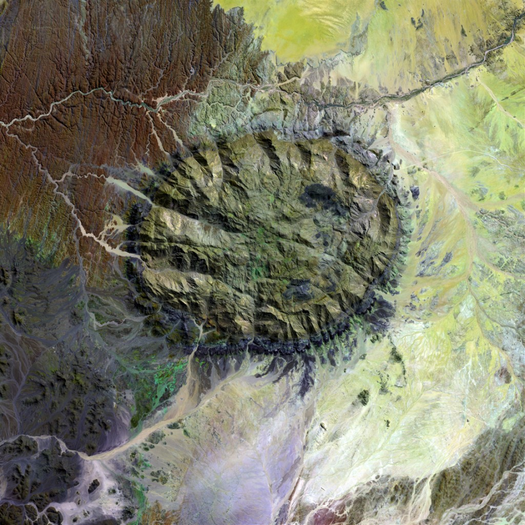 A Landsat 7 image of the Brandberg Igneous Complex in Namibia (Credit: NASA).