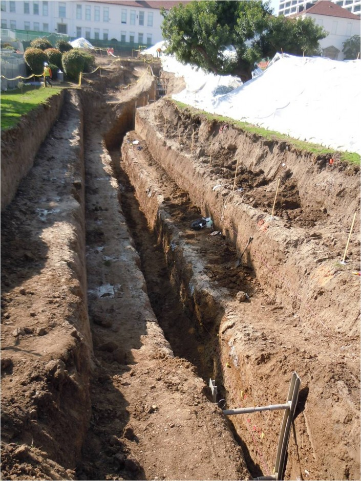 Trench excavated in front of the school. No evidence of past earthquakes was found in the trench. (Credit: Eldon Gath)