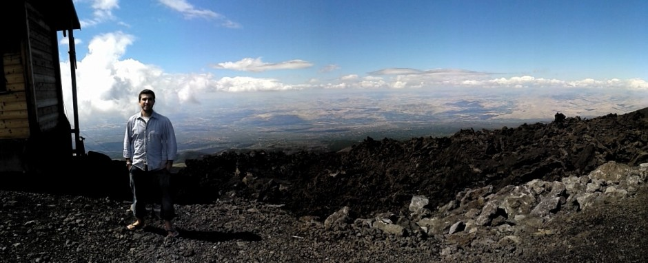 And another shot of Matthew in the field – this time from Mount Etna. (Credit: Matthew Aguis)